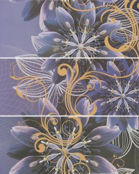 Декоративное панно 3 плитки GRACIA Gracia violet panno 01 600х750