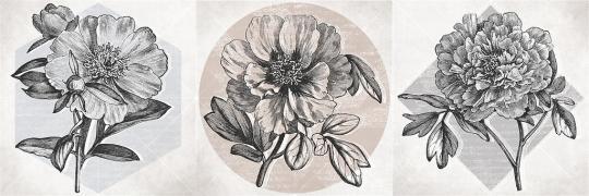 Декор Cersanit  Nautilus цветы, многоцветный, 20x60